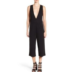 Leith Cropped Plunge Jumpsuit in Black